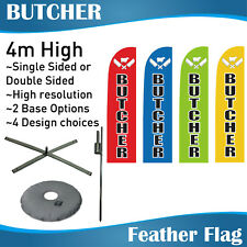 4m Outdoor BUTCHER Flag Banner Feather Flag with Base