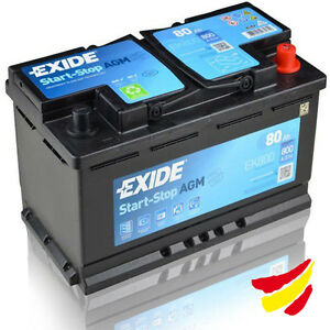 Batería AGM Tudor Exide EK800 Start-Stop 80Ah, 12V