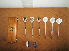 6 VTG PUB DARTS 3 STEEL TIP & 3 PLASTIC TIP WITH WOODEN CASE & EXTRA PIECES