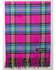 100% Cashmere Scarf Pink Blue Check Tartan Plaid SCOTLAND Wool Women R3621 Wrap