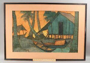 Large Original CHUAH SIEW TENG Malaysia Southeast Asian BATIK Cloth Painting NR