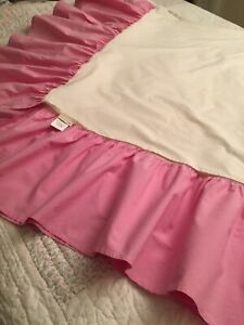 Pottery Barn Kids Queen Pink Chambray Bed Skirt Portugal 100% Cotton EUC
