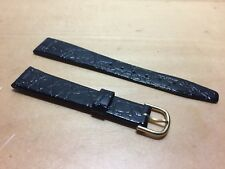 New - Vintage Black Leather Strap 15 MM - 15 - With Buckle