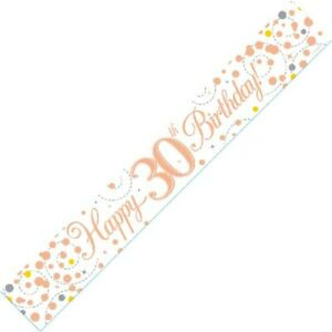 9ft White & Rose Gold Happy 30th Birthday Foil Banner Age 30 Party Decorations