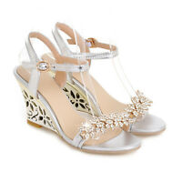 Women's Rhinestone Hollow Out Wedge Heels Open Toe Slingbacks Ankle Strap Shoes