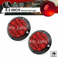 "2x 12V Shockproof 4"" Round 12 LED Red Brake Lamp Stop Freight Lorry Tail Light"