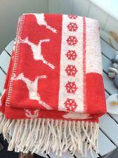 CHRISTMAS BLANKET WINTER WHITE RED FAIR ISLE SNOWFLAKE STAG REINDEER FRINGE L