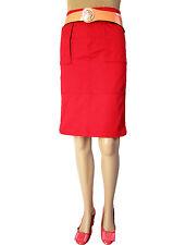 H&M Womens Vtg Retro Look Casual Wear Pencil Red Knee Cotton Skirt sz 8 XS AP56