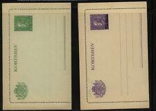 Sweden  2 postal letter cards, one revalued         PS0518