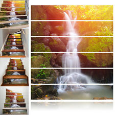 Waterfall 3D Stairs Tile Risers Mural Vinyl Decal Wall Stickers Paper Decor 6pcs