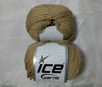 Air Shine Beige 51465 Ice Yarn Lot of 2 Skeins Acrylic Polyamide 50g 76y