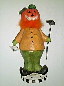"""Vintage Halloween Pumpkin Man Figurine Chalkware 12"""""""