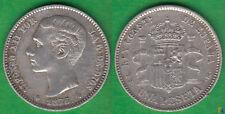 ALFONSO XII. 1 PESETA DE 1876 (*18-76) DEM. PLATA 0835. (4)