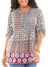 Womens plus size 22 24   30 Top  3/4 sleeve chiffon smock style blouse