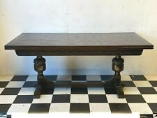 Antique gothic style carved oak drawer leaf extending dining table - Delivery