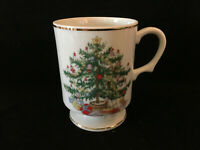 Vintage Lefton Hand Painted China Christmas Tree Mug Cup Holiday Collectible