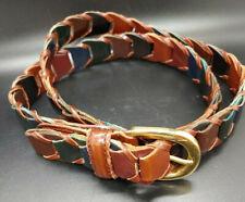 "Women's Woven Leather Belt Brown/Black/Navy Size ML Gold Tone Buckle 1"" wide"