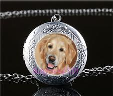 Golden Retriever Photo Glass Tibet Silver Chain Locket Pendant Necklace#S22