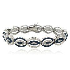 1/4 Ct Blue & White Diamond Intertwining Infinity Bracelet (I-J, I3)