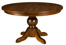 "Amish Round Plank Pedestal Dining Table Solid Wood Traditional Carson 48"", 54"""