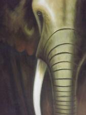 Pintura al óleo abstracta Elefante Arte Contemporáneo Moderno de Lona Gris Negro Africano