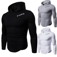 Mens Long Sleeve Casual Hooded T-Shirt Muscle Hoodie Slim Fit Sweatshirt Gym Top