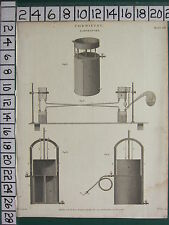 1812 DATED ANTIQUE PRINT ~ CHEMISTRY ~ LABORATORY EXPERIMENT APPARATUS
