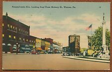 Warren Pennsylvania Avenue pa from Hickory Street linen Postcard