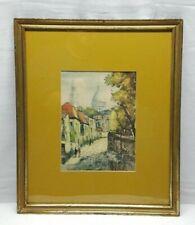 Vtg Art Watercolor Painting Framed Basilique du Sacre Coeur Sacred Heart France