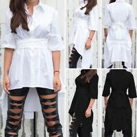 Women's Long Sleeve Ruffle High Low Asymmetrical Dress Shirt Tunic Top Blouse US