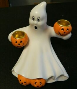 Ceramic Halloween Ghost and Pumpkins Taper Candle Holder