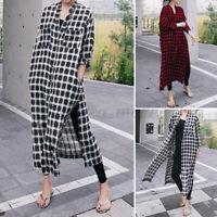 Women Casual Plaid Check Long Sleeve Shirt Dress Button Down Baggy Long Coat NEW