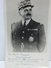 French General Henry Martin Autographed Photo Wwii to Major General Bradshaw