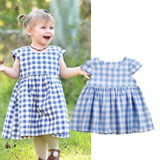 0-3T Toddler Kids Girl Dress Skirts Wedding Party Check Casual Cotton Tutu Dress