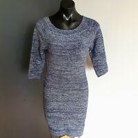 Women's size 3 'MAJE' Gorgeous blue metalic knit dress - AS NEW