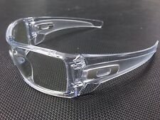 Oakley Batwolf  POLISHED  CLEAR frame w/clear lense + WHITE ICONS SAFETY GLASSES