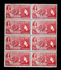 BERMUDA - 1953/58 - Serie ordinaria. Regina Elisabetta - 2 1/2 d. - Blocco di 8