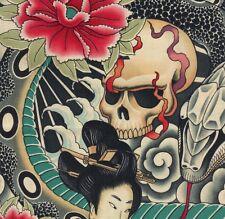 Alexander Henry Gothic Zen Charmer Geisha, Skull, Snake Collage Fabric - ½ METRE