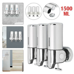 3 Bottle Wall Mounted Shower Soap Shampoo Dispenser Pump Lotion Bathroom 1500ML
