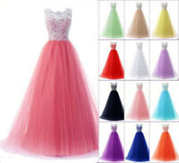 Long Lace Evening Formal Party Ball Gown Prom Bridesmaid Dress UKStock Size 6-18
