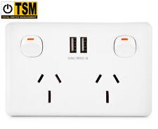 Double Powerpoint w/ Dual USB Port - White