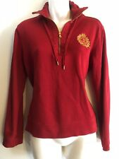 Womens Ralph Lauren Pullover Shirt 1/4 Zip Mcmlxvll Embroidered Size Med