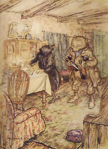 Wind in the Willows Arthur Rackham Ratty Mole glossy Photo Print repro A5 A4