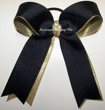 Ponytail Bow Navy Blue Gold Metallic Ribbons Streamer Softball Soccer Volleyball