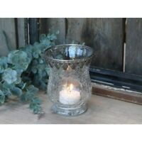 Chic Antique Teelichtglas Windlicht Bauernsilber Shabby Vintage 11cmx9cm