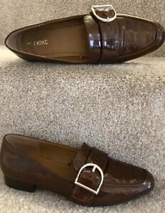 Next Loafers Uk 4 Eu37 Rich Brown Patent Women's Flat Shoes