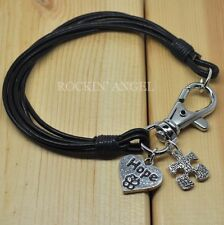 Real Black Leather Wristband Bracelet Autism Puzzle Piece & Hope Heart Awareness