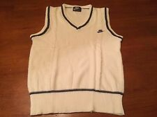 Vintage Nike Cotton White Tennis Sweater Vest Blue Tag Small Cable Knit Preppy