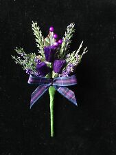 Artificial Scottish Buttonhole Purple Heather & Thistles (Made To Order)