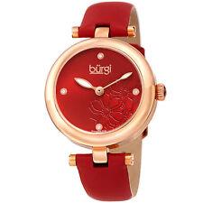 Women Burgi BUR197RD Diamond Marker Flower Red Gold Tone Leather Strap Watch